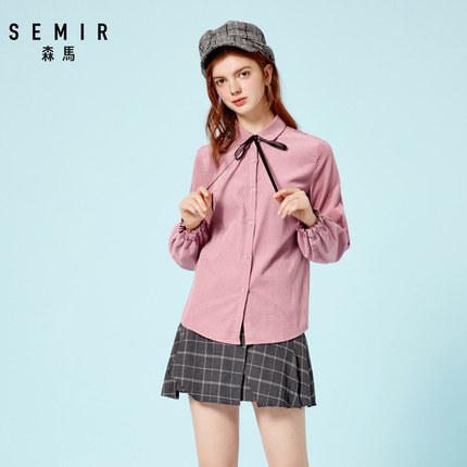 SEMIR Áo sơ mi Senma áo dài tay cô gái mùa thu mới ve áo sơ mi cotton tươi áo nơ ngọt ngào