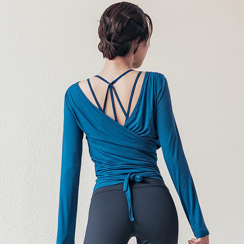 VSEMLEING Áo thun mau khô Túi tóc giúp mùa thu Quần áo yoga dài tay chạy thể dục Quần dài tay nữ có