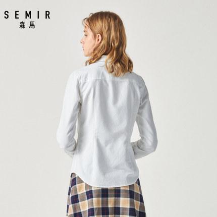 SEMIR Áo sơ mi Áo sơ mi nữ tay dài Senma 2019 mùa đông mới áo sơ mi cotton cotton sơ mi giản dị khí