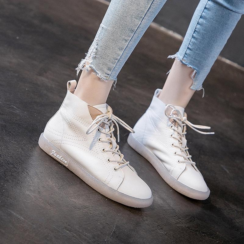 JUZI Giày GuangDong Mùa thu mới lớp da bò gân mềm đế giày nữ đế cao để giúp giày nhỏ màu trắng Giày