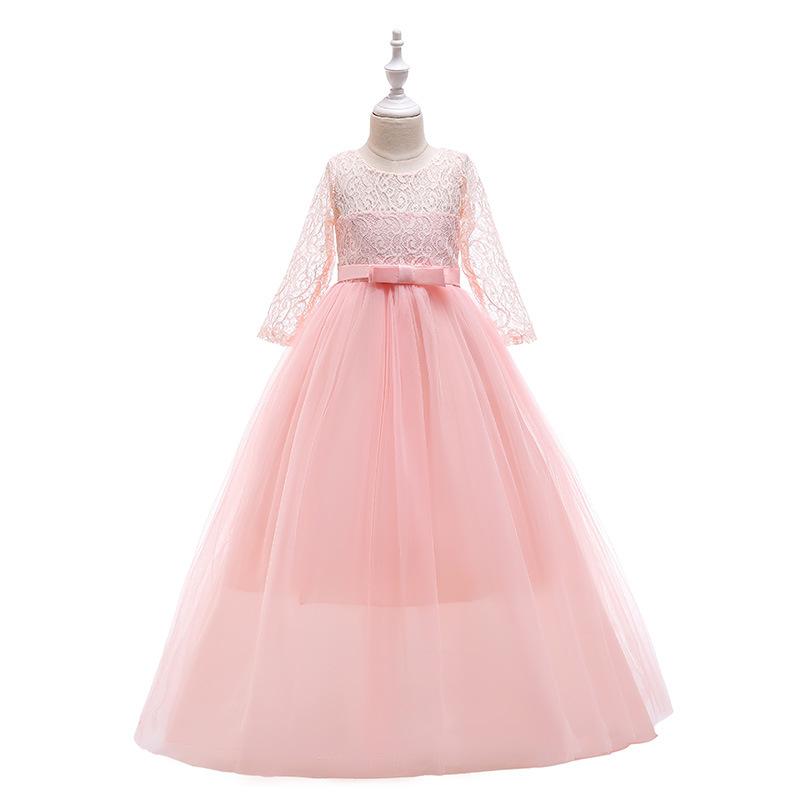 KEAIYOUHUO Trang phục dạ hôi trẻ em 2019 xuyên biên giới cô gái nơ độc quyền mới hoa cô gái váy cưới