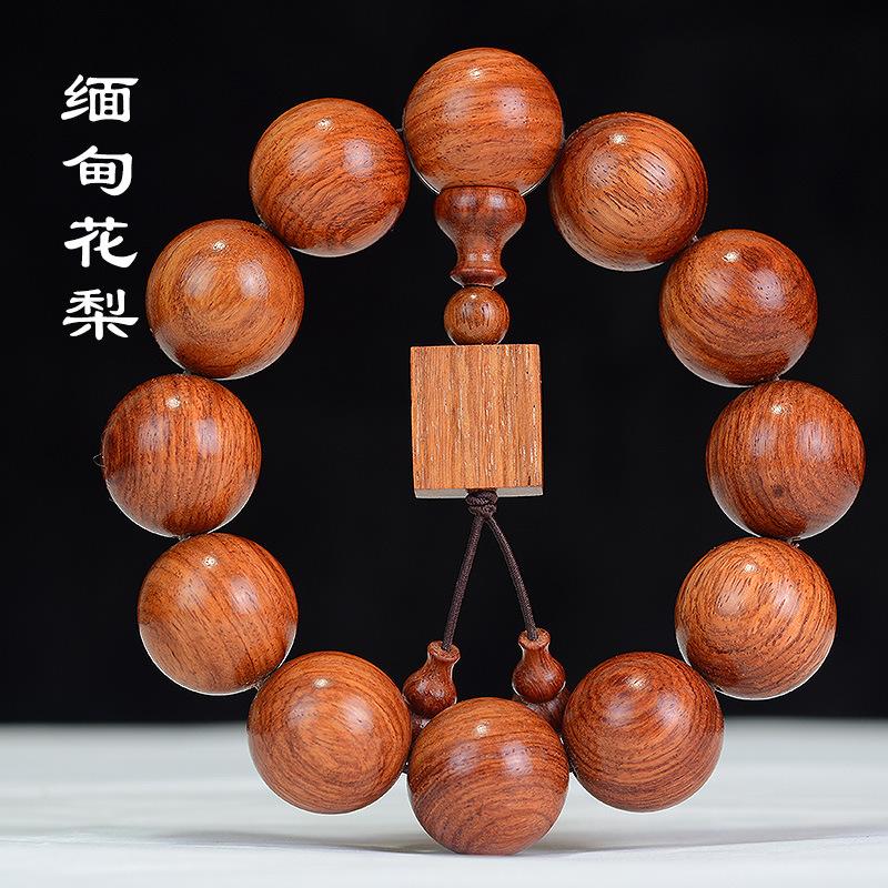 JIFANGYUAN Chuỗi phật Vòng đeo tay Myanmar Huanghuali 2.0 Vòng tay Phật bằng gỗ