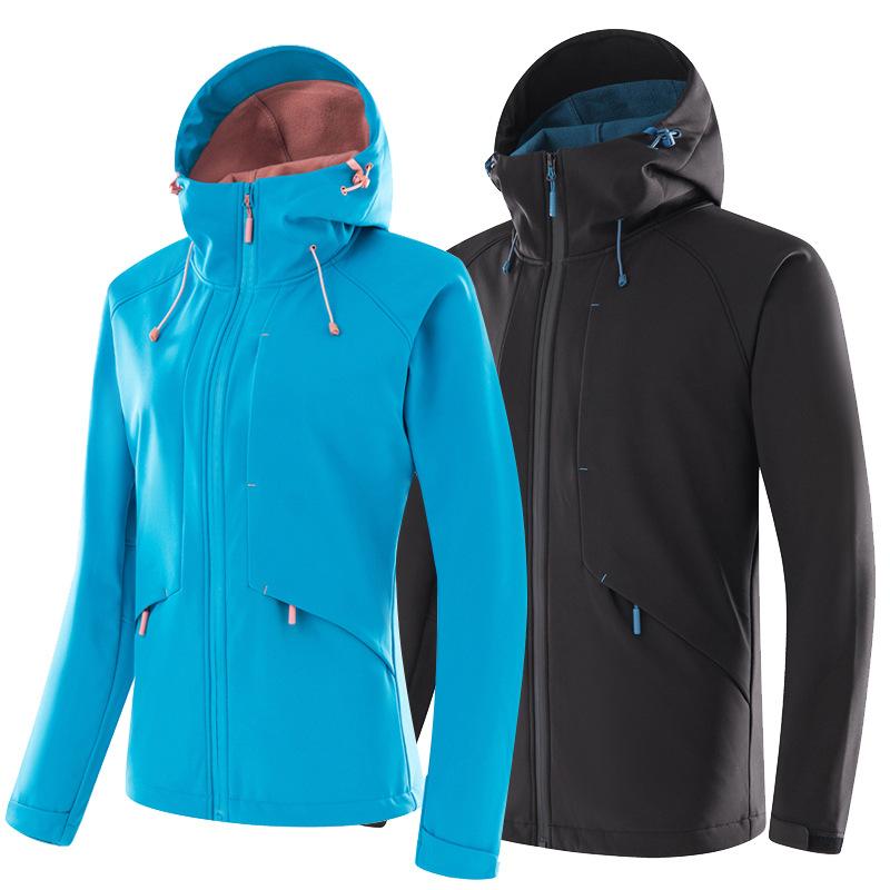 Lót nỉ Soflshell Quần áo vỏ mềm ngoài trời cho nam và nữ mới mùa xuân và mùa thu và mùa đông Áo khoá