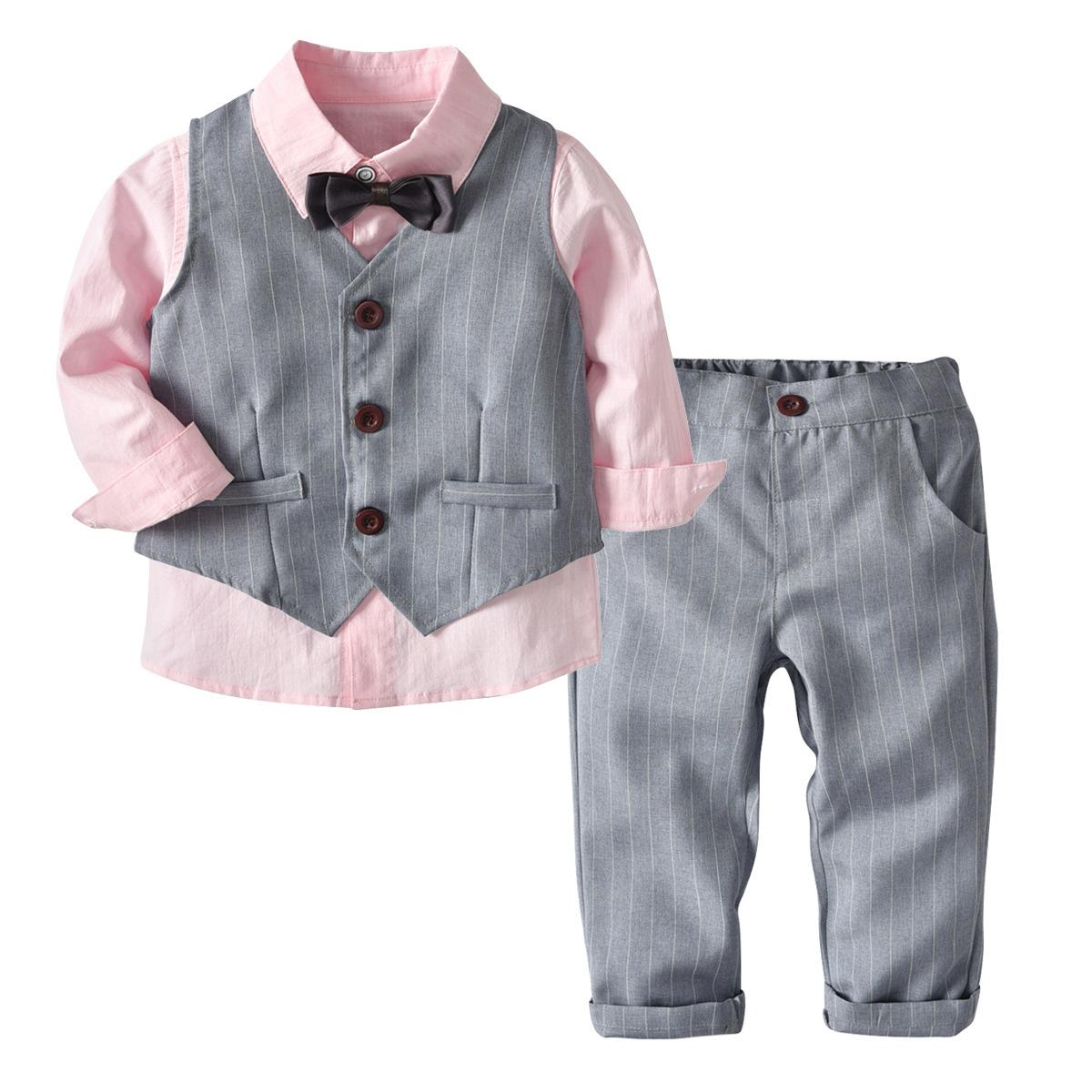 Đồ Suits Quần áo trẻ em xuyên biên giới áo dài tay áo vest quần quý ông thắt nơ quý ông phù hợp với