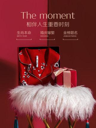 Hodohome  Đồ ngủ Cotton kết hôn với đồ ngủ đôi của phụ nữ phù hợp với đậu đỏ Bông lớn màu đỏ dài tay