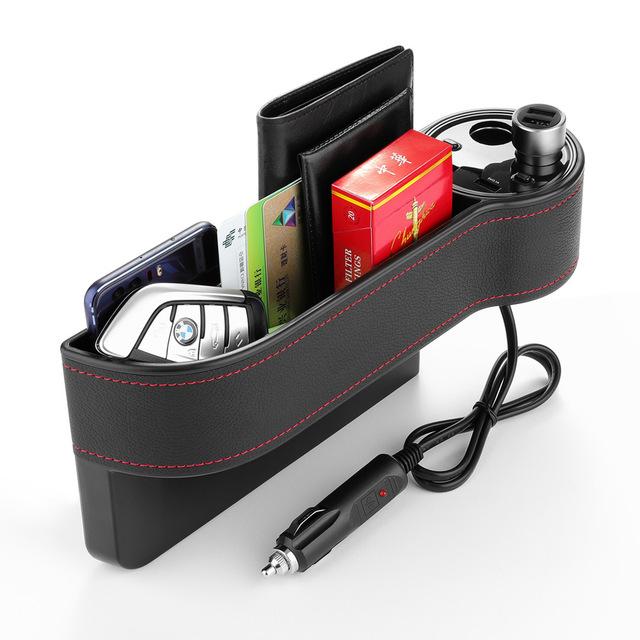 Hộp đựng đồ dùng trên ô tô đa năng có thể sạc USB và bật lửa tẩu thuốc .
