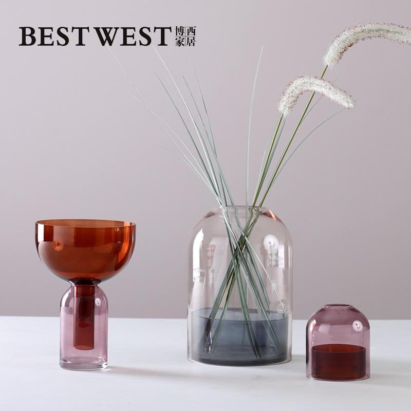 Best west Bình bông Túi nối tóc Bosi nhà hai thân hình bình thủy thủy cong mẫu Hoa thủy tinh cắm hoa