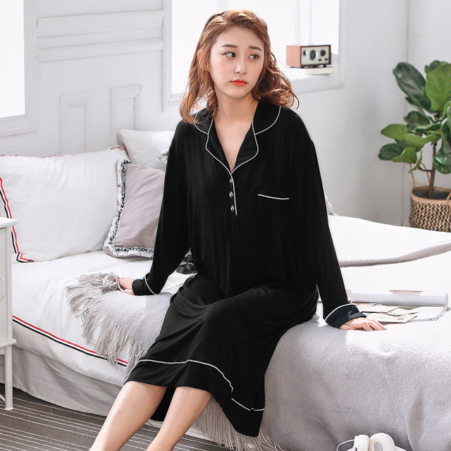 Đồ ngủ Mùa xuân và mùa thu cộng với phân bón để tăng cho cô Modal bộ đồ ngủ dài tay chất béo MM200 k