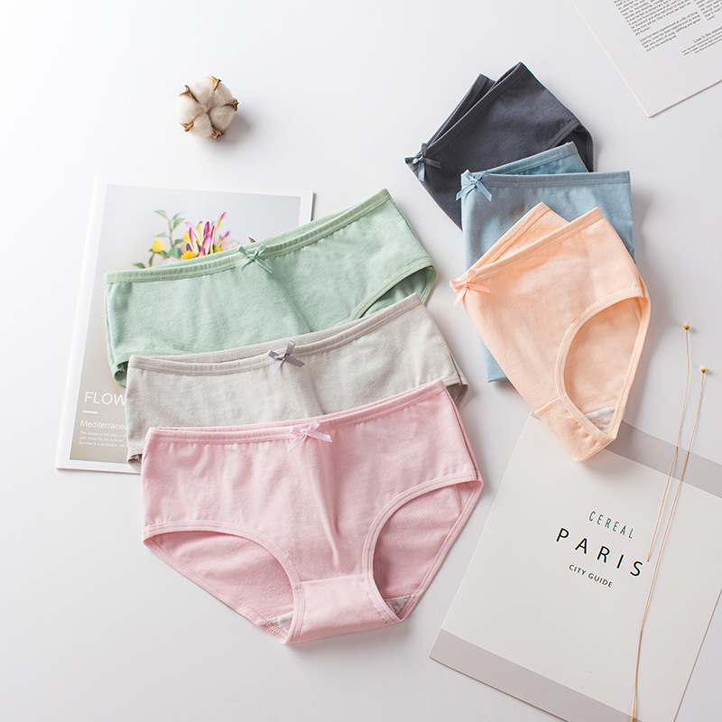 H&P.PULO Quần lót 2019 mới đồ lót màu rắn nữ cotton trung eo nơ sinh viên Nhật Bản kích thước lớn nh