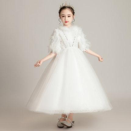 Zhitongdai Trang phục dạ hôi trẻ em Cô gái làm dày váy cưới màu trắng Hoa cô gái Puffy Dầu gội đầu C