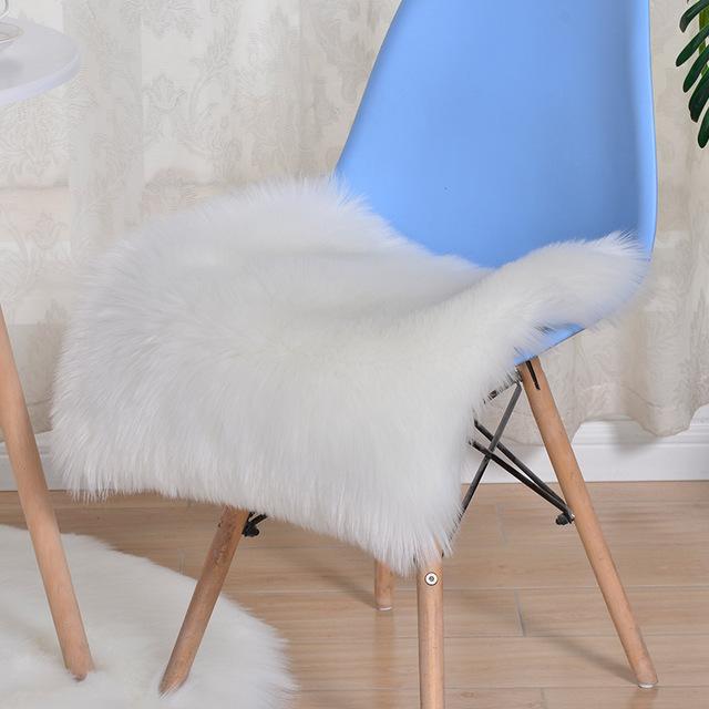 JINXUEHU Đệm ngồi Túi giúp mùa đông văn phòng mới giả len ghế đệm acrylic đệm trắng không có đệm ghế