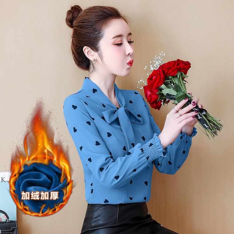 hàng chất lượng cao Áo voan nữ tay dài 2019 thời trang Hàn Quốc mới cộng với nhung dày hoang dã quần