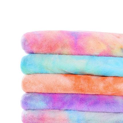 Vải Chiffon & Printing Mới giả dày   thỏ lông vải tie nhuộm vải sang trọng gradient cầu vồng thỏ lôn