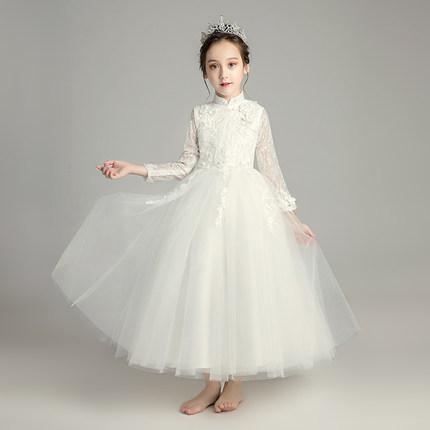 Zhitongdai Trang phục dạ hôi trẻ em Cô gái váy trắng công chúa váy trẻ em buổi tối váy cô gái nhỏ vá