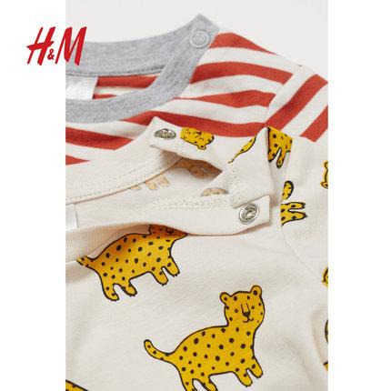 H&M  Trang phục trẻ em mùa hè Quần áo trẻ em HM bé trai bé sơ sinh Áo phông 2019 hè mới Áo sơ mi dài