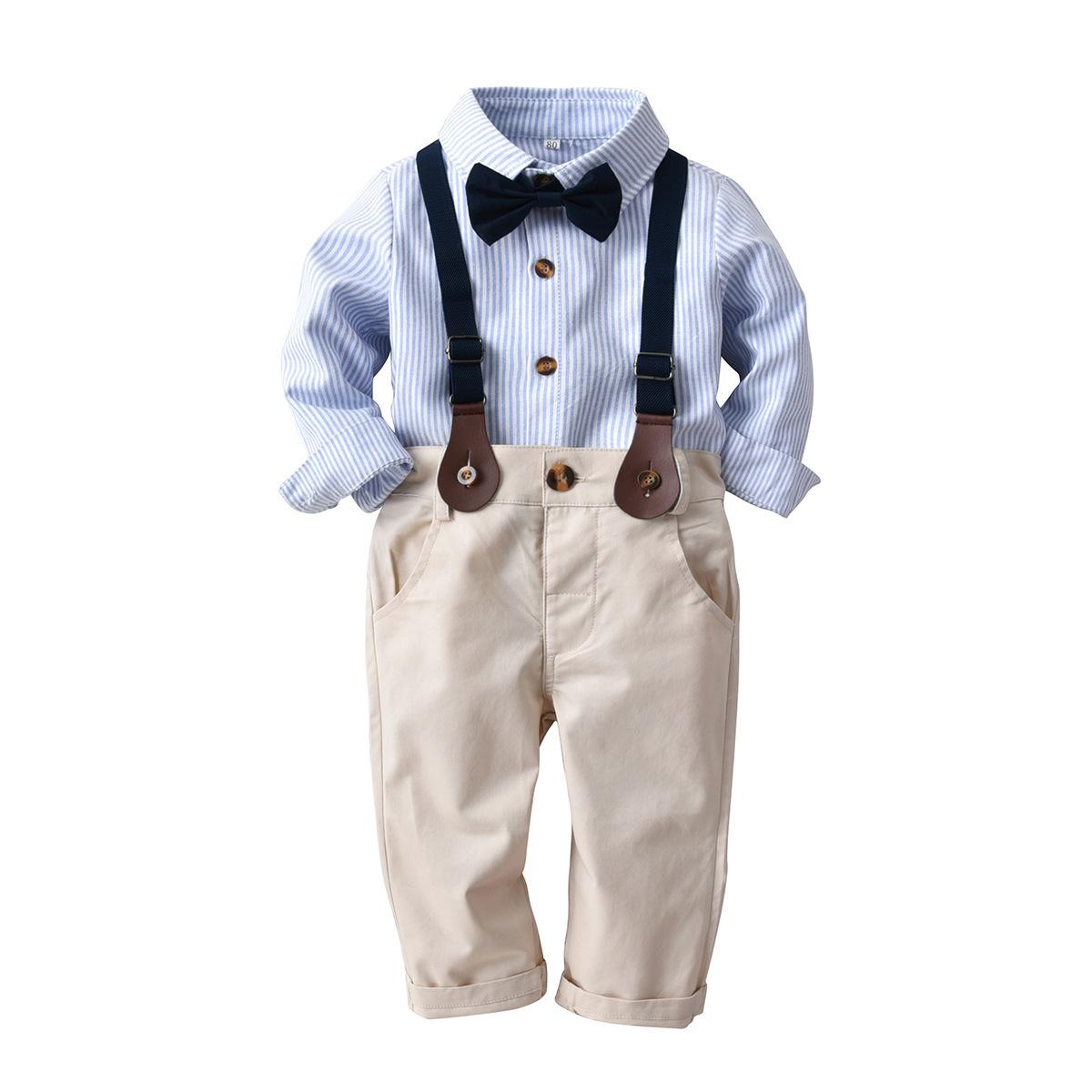 Đồ Suits Mùa xuân và mùa thu Trẻ em mới thiết lập cho trẻ em Phong cách châu Âu và Mỹ Áo sơ mi sọc d