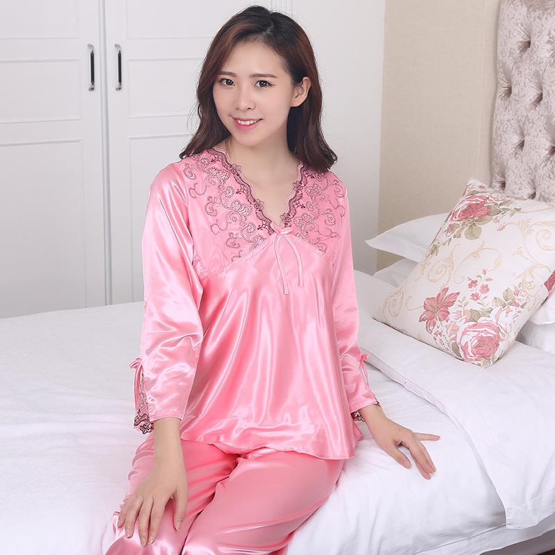 XIAZHIMENG Đồ ngủ nữ 2019 gợi cảm V-cổ mô phỏng đồ ngủ bằng lụa phù hợp với dịch vụ mặc nhà giản dị