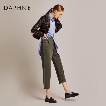 Daphne  Giày da một lớp   Daphne 2019 mùa thu Shu mềm mại hai đôi giày Lok Fu nữ retro vuông đầu dày