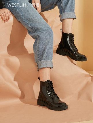 Thị trường giày nữ  Tây bắt gặp giày nữ mùa đông mới 2019 giúp giày cao cổ màu đen bằng da sáng chế