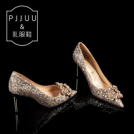 PJJUU Giày cô dâu Giày cưới nữ 2019 mới pha lê giày cô dâu vàng sequin cao gót stiletto phù dâu đám