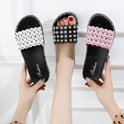 Thị trường giày nữ Mùa hè mới dép thời trang và dép Dép Hàn Quốc ra khỏi dép ngọc trai dày đáy nhỏ m
