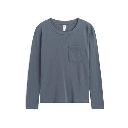GAP Áo thun Pre-sale Gap áo thun cotton cổ tròn tay dài của phụ nữ 502215 2019 mùa thu đông mới áo s