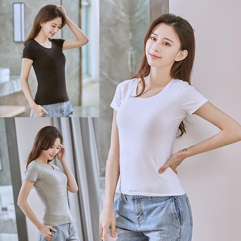 hàng chất lượng cao Áo thun trắng tay ngắn nữ lửng 2019 xuân hè mới áo sơ mi Hàn Quốc phiên bản hoan