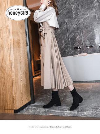 Thị trường giày nữ  Booties mật ongGIRL nữ 2019 mới mùa xuân và mùa thu đơn khởi động lưới màu đỏ m