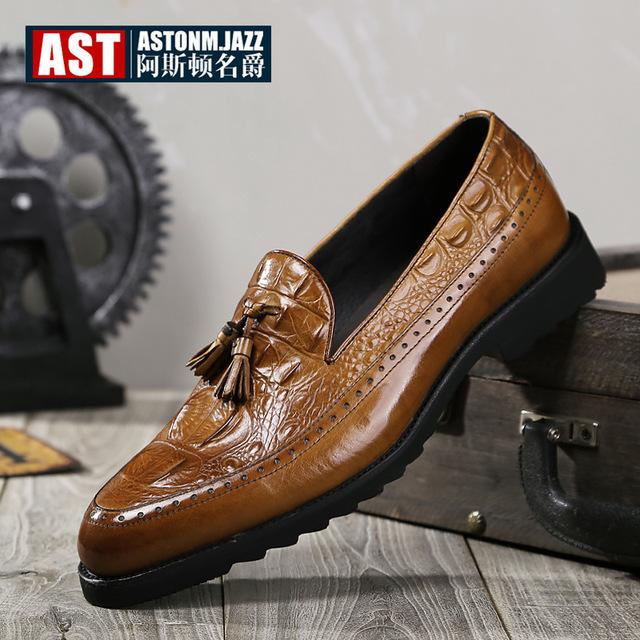 ASDMJ thị trường giày nam Túi tóc giúp mùa thu và mùa đông nam mới giày công sở cá sấu giày nam tua