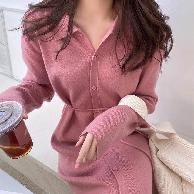 hàng trào lưu mới Đầu mùa thu khí chất nữ thần quần áo đan váy nữ mùa thu và mùa đông dài áo len váy