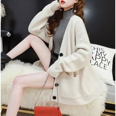 Phong cách Hàn Quốc Mùa thu mới lười gió rộng kích thước áo len dài tay nữ phiên bản Hàn Quốc của mạ