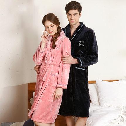 Hodohome  Đồ ngủ Cặp đôi đậu đỏ flannel váy ngủ nữ mùa thu và mùa đông dịch vụ nhà dày phần dài áo c