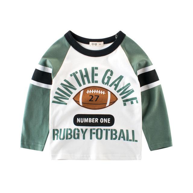 27KIDS Phong cách Hàn Quốc Mùa thu 2019 quần áo trẻ em bán buôn Cậu bé Hàn Quốc chạm đáy áo cotton t