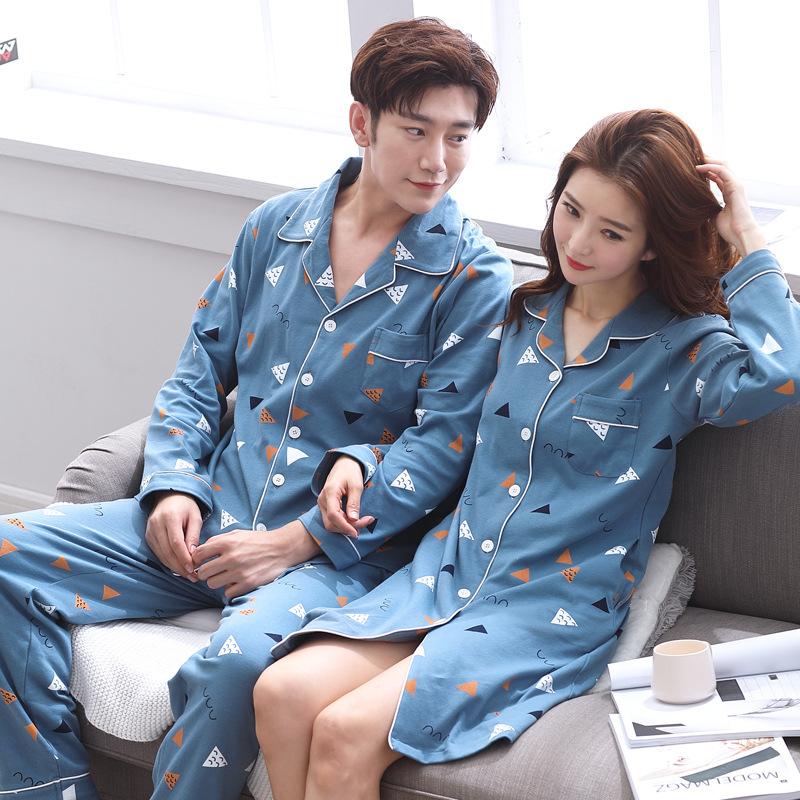 HANXUELAN Đồ ngủ Mùa thu đông mới bộ đồ ngủ đôi cotton dài tay nam nữ dịch vụ tại nhà đơn giản dễ th