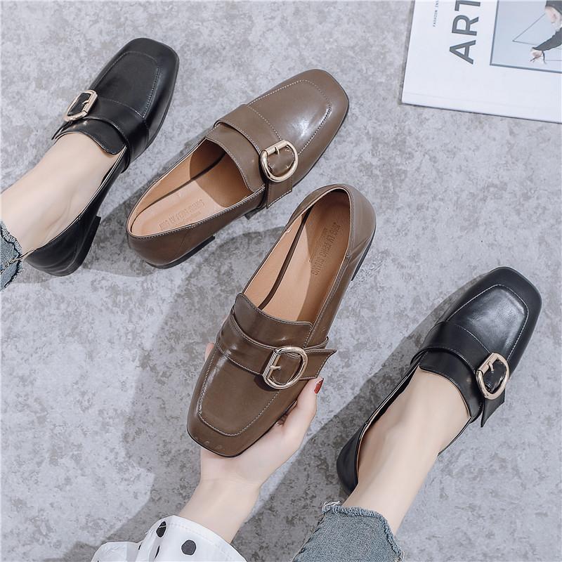 JLFS Giày Loafer / giày lười Túi tóc giúp mùa thu đông 2019 mới Anh gió nhỏ giày da vuông đầu đơn gi