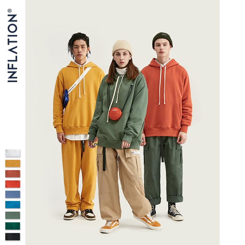 inflation Sweater (Áo nỉ chui đầu) Quần áo nam INF | phần mỏng 300g · mùa thu rắn màu trùm đầu áo le