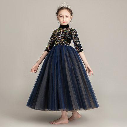 Zhitongdai Trang phục dạ hôi trẻ em Cô gái cao cấp váy công chúa fluffy sợi trẻ em catwalk buổi tối