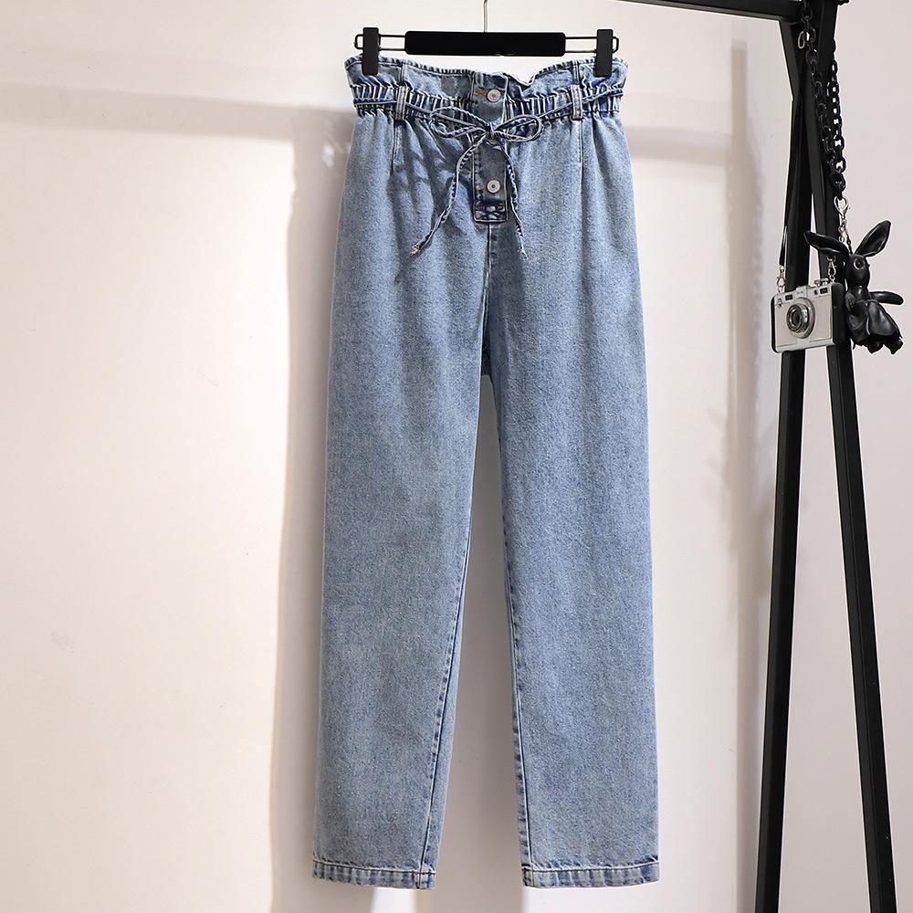 BIANXINGCE quần Jean 300 fat mm size lớn cho nữ 200 kg mùa thu đông cộng với nhung dày phiên bản Hàn