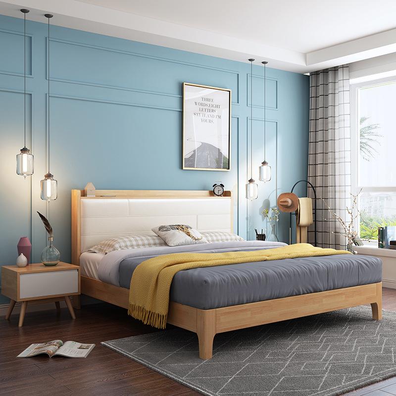 AILAIGE Nội thất Giường gỗ rắn Bắc Âu 1,5m1,8 m giường đôi hiện đại tối giản lưu trữ giường áp suất