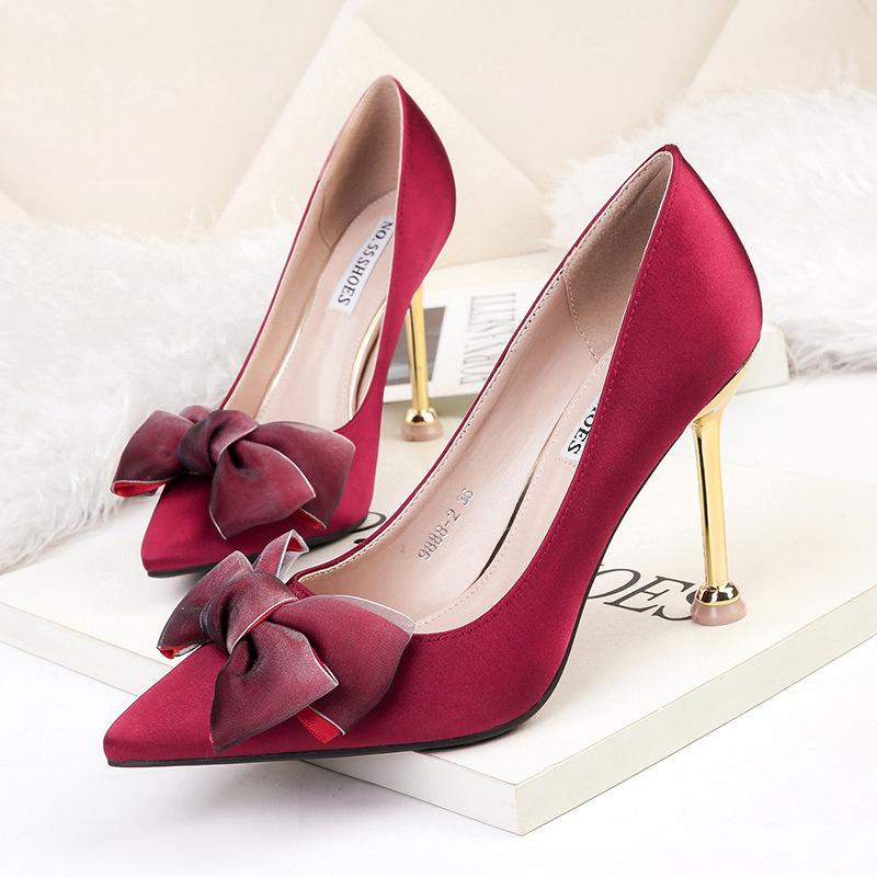 NO.55 Shoes Thị trường giày nữ Túi tóc giúp 9888-2 Châu Âu và Hoa Kỳ mũi nhọn giày cao gót gợi cảm,