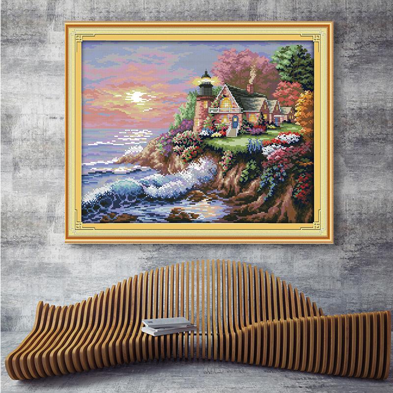 Tranh thêu chữ thập Nhà sản xuất tùy chỉnh chéo khâu bên bờ biển ngọn hải đăng sơn trang trí tùy chỉ