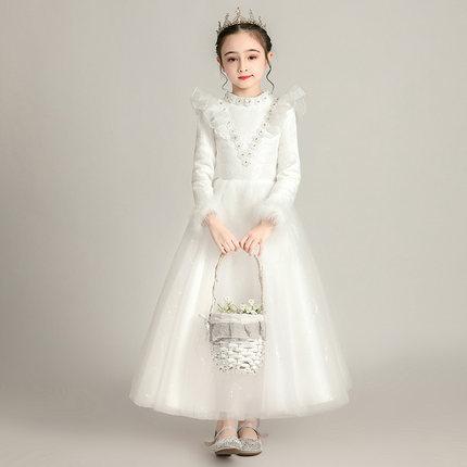 Zhitongdai Trang phục dạ hôi trẻ em Váy bé gái cộng với váy nhung dày công chúa váy phồng trẻ em chủ