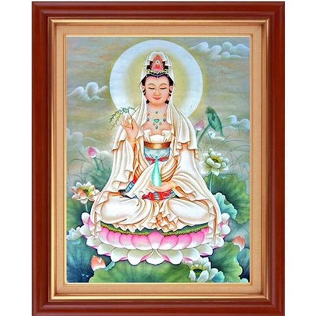 Mona Lisa Tranh thêu chữ thập Mới In chính xác Cross Stitch Bán buôn Tượng Phật Guanyin Cross Stitch