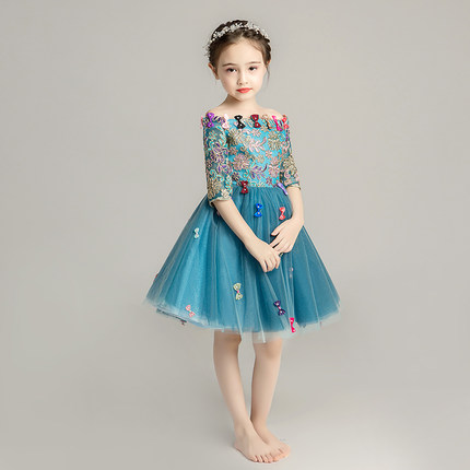 Zhitongdai Trang phục dạ hôi trẻ em Cô gái catwalk buổi tối váy cưới váy cô gái sinh nhật công chúa