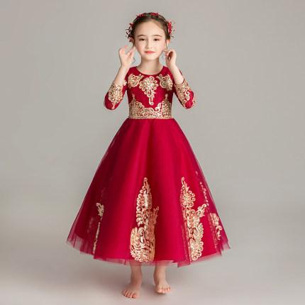 Zhitongdai Trang phục dạ hôi trẻ em Cô gái Trung Quốc dài tay Catwalk Dress buổi tối Puffy Gạc Công