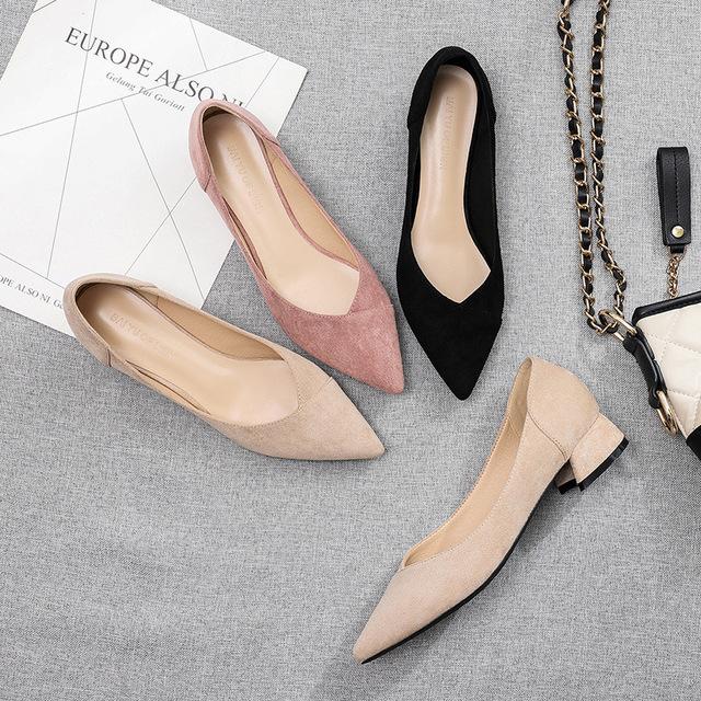 FUHAO Giày da một lớp Túi tóc giúp Fu số Giày cao gót nữ 2019 xuân mới Giày công sở nữ màu đen dày v