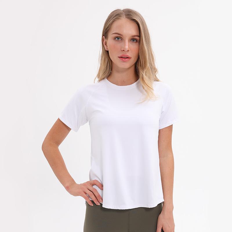 Áo thun mau khô Túi kẹp tóc New Yoga áo thun ngắn tay nữ Vải sợi khâu quần áo thể dục thoáng khí và