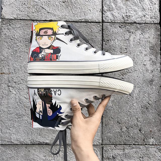 Giầy dép Túi tóc giúp Fire Shadow graffiti giày vải cao nam 2019 mới mùa thu giày nam giày sinh viên
