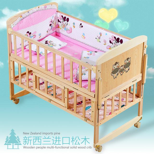 ZHIGUAN Nôi trẻ sơ sinh bằng gỗ nguyên khối, không sơn, có thể điều chỉnh