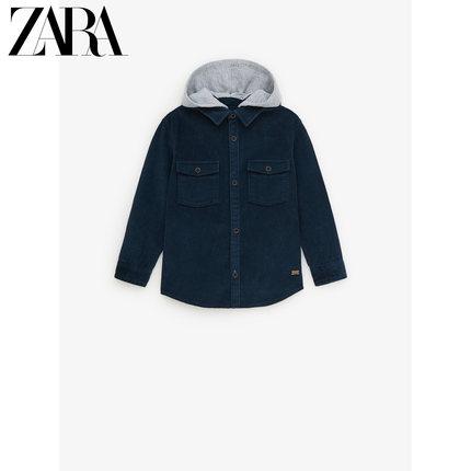 ZARA Áo Sơ-mi trẻ em  ZARA quần áo trẻ em mới cho bé trai mùa thu và mùa đông khâu áo sơ mi vải nhun